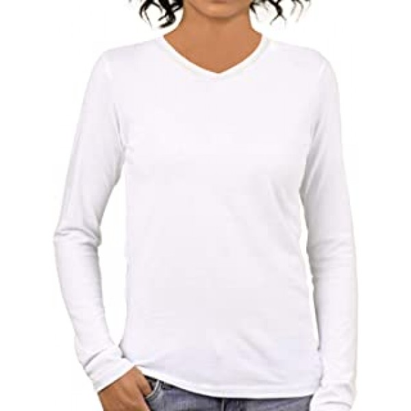 Dobbo Womens Plain Cotton V Neck Full Sleeves Multicolour T Shirt